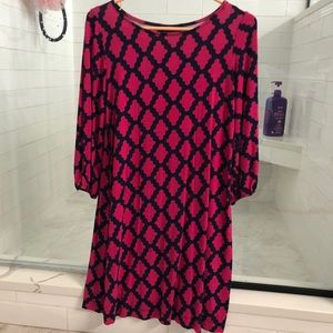 Fuchsia/navy printed cotton boatneck dress